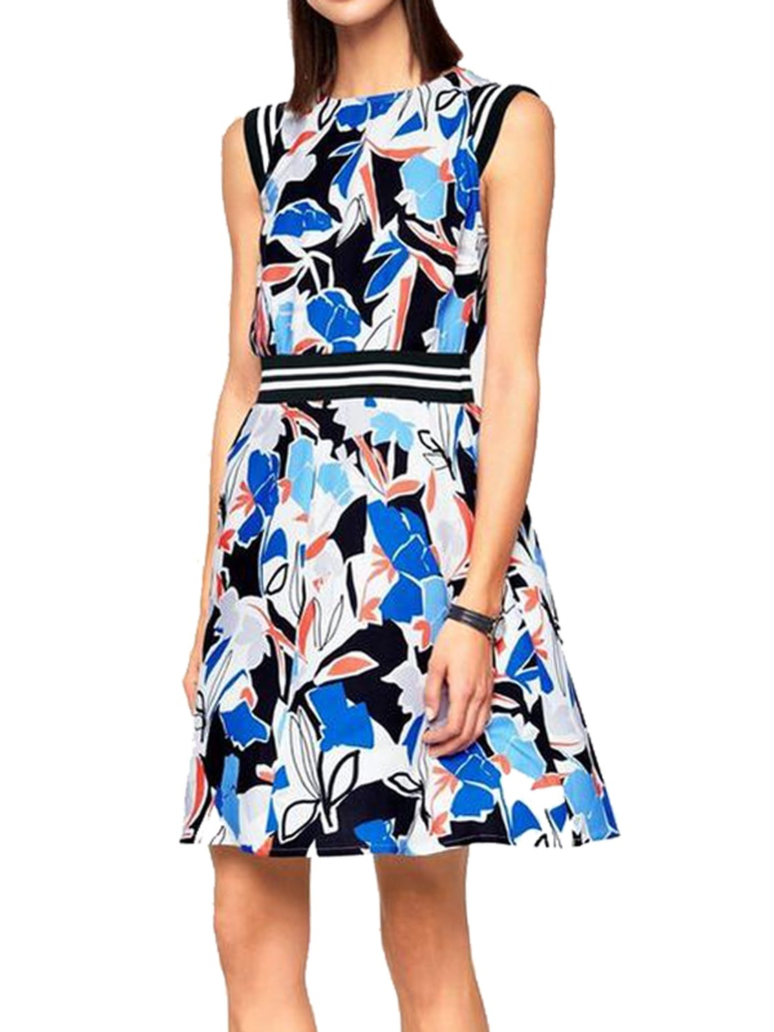 Abstract Sports Stripe Fit & Flare Dress