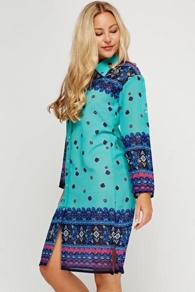 Aqua Mixed Print Tunic Dress