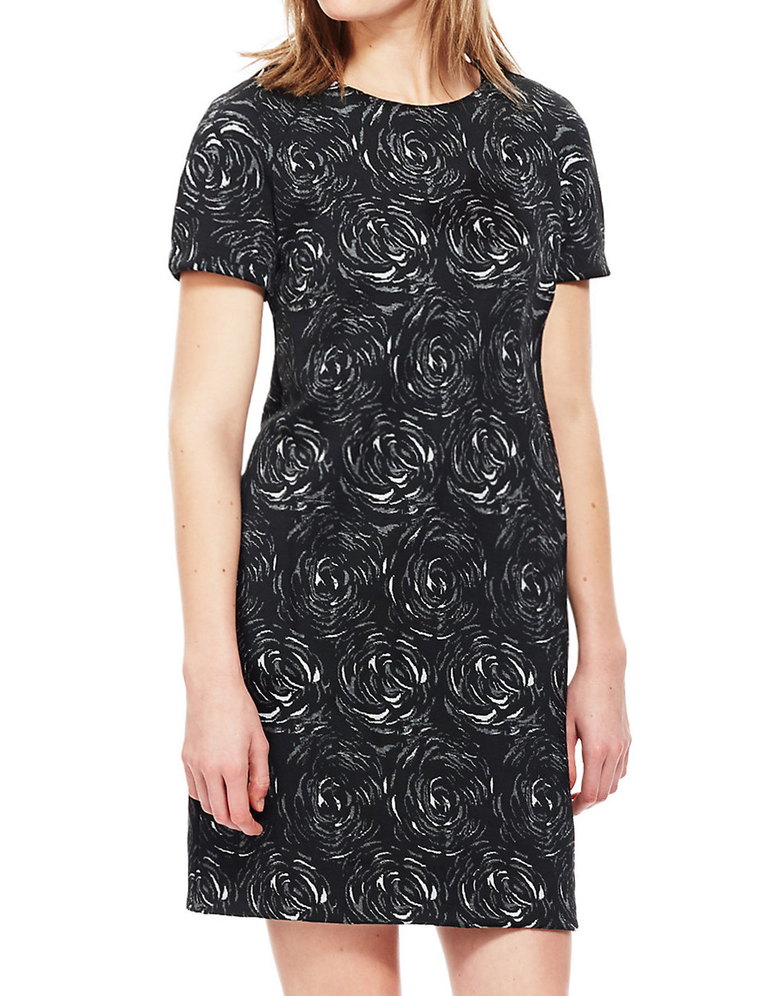 Black Floral Jacquard Tunic Dress