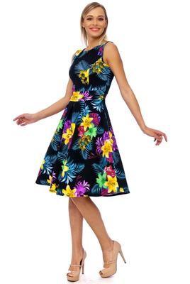 Black Flower Pleat Detailing Dress