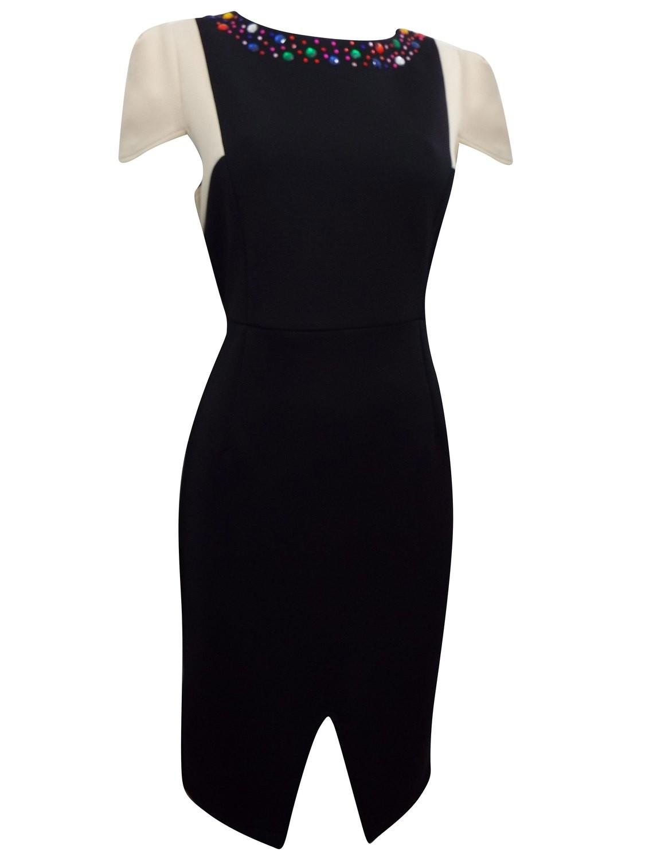 Black Jewel Embellished Panel Shift Dress