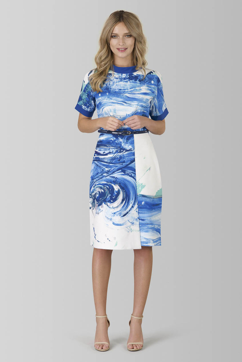 Blue Printed A-line Dress with Cold Shoulder