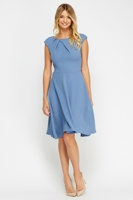 Blue Ruched Swing Dress