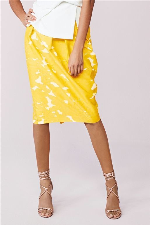 Jacquard Tulip Next Skirt Yellow