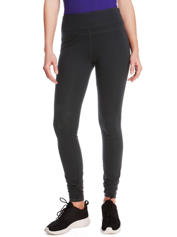 BLACK Ruched Hem Full Length Leggings