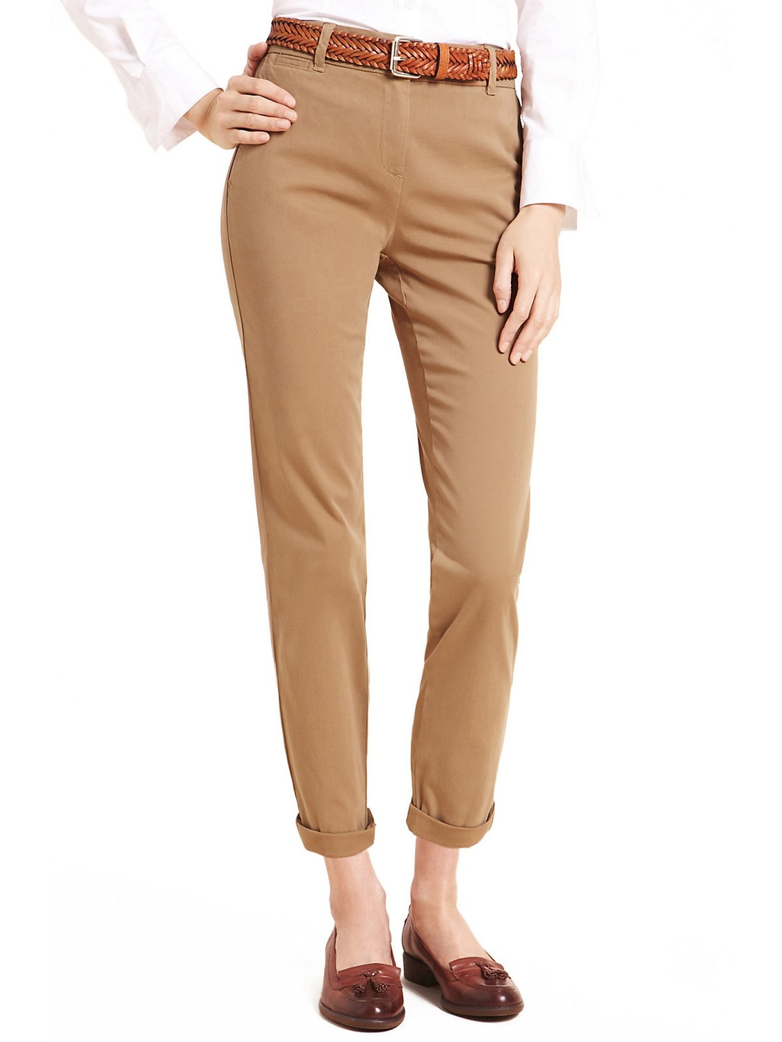 Camel Cotton Rich Straight Leg Chinos