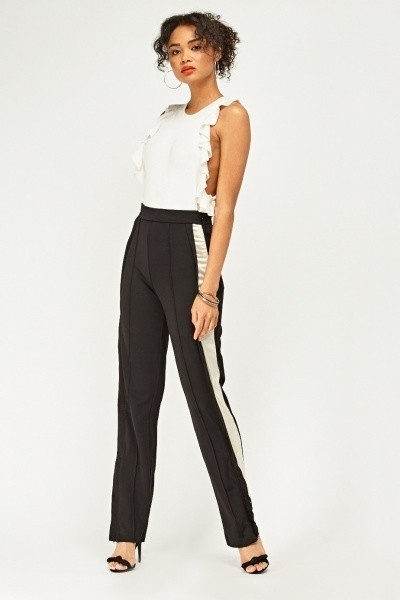 Contrasted Side Straight Fit Trousers