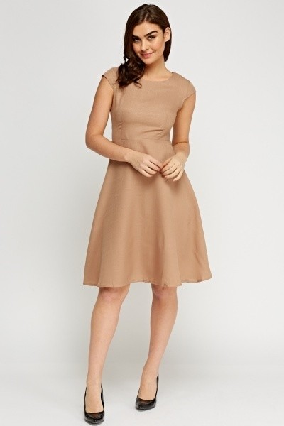 Cap Sleeve Midi Swing Dress Beige