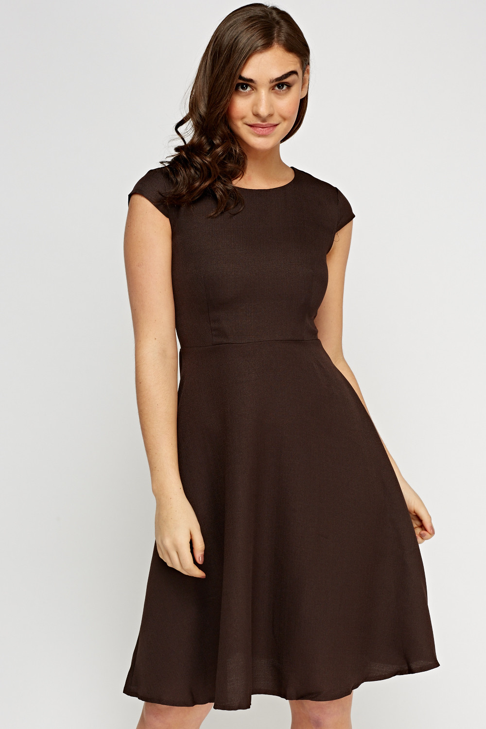 Cap Sleeve Midi Swing Dress Chocolate