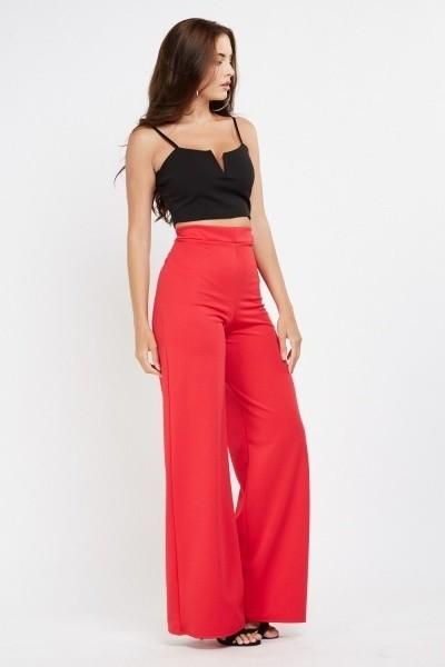 High Waist Wide Leg Red Trousers