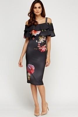 Charcoal Frilled Cold Shoulder Dress