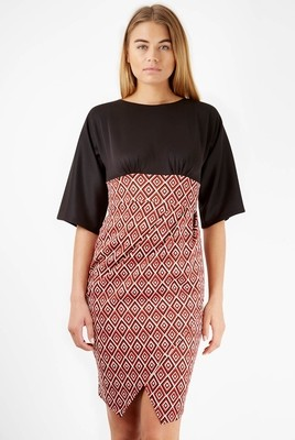 Closet Black Contrast Geometric Kimono Dress