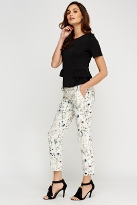 White Mix Print Casual Trousers