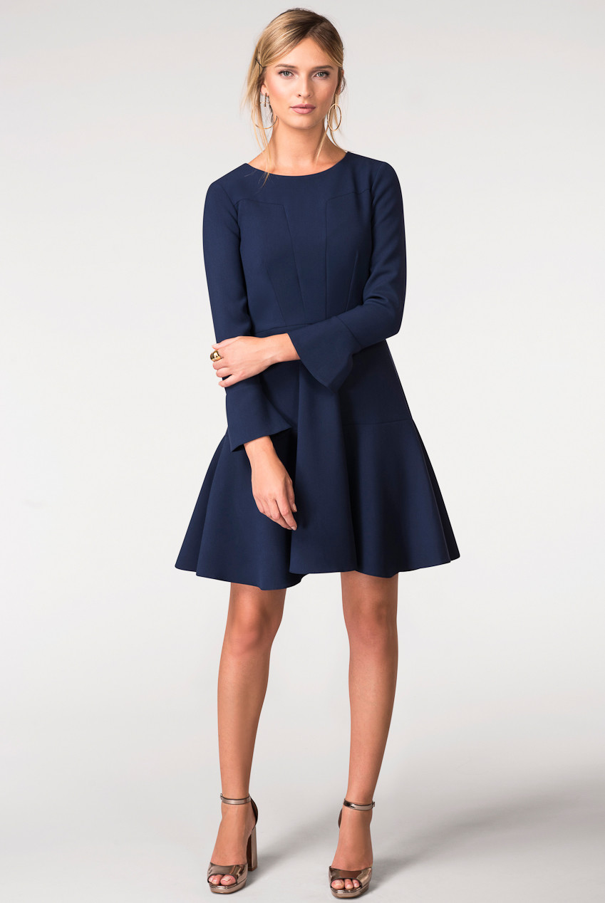 CLOSET Navy Panelled Volant Skirt Dress