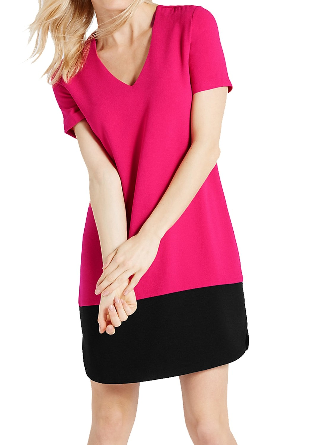 Color Block Short Sleeve Tunic Pink Dress by M&S