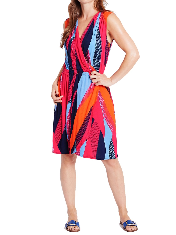 Color Block Wrap Beach Dress