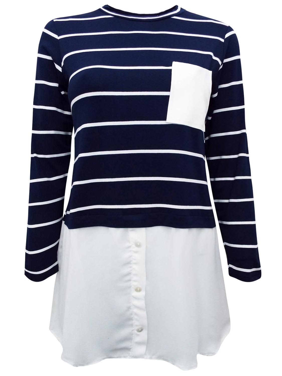 Navy Striped Long Sleeve Layered Jersey Top