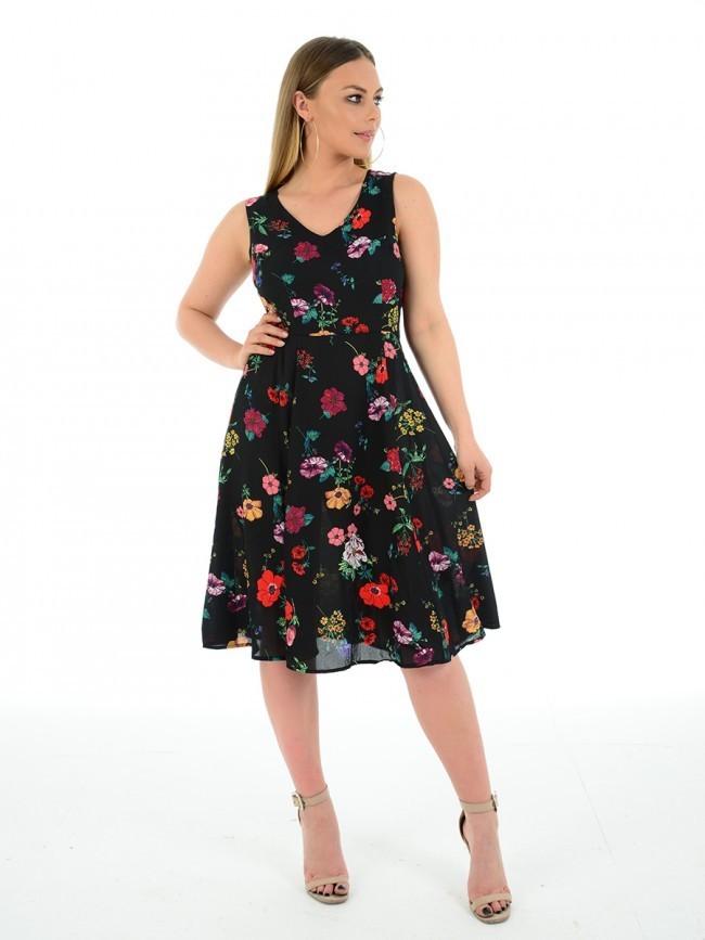 Coloured Flower Summer Dress