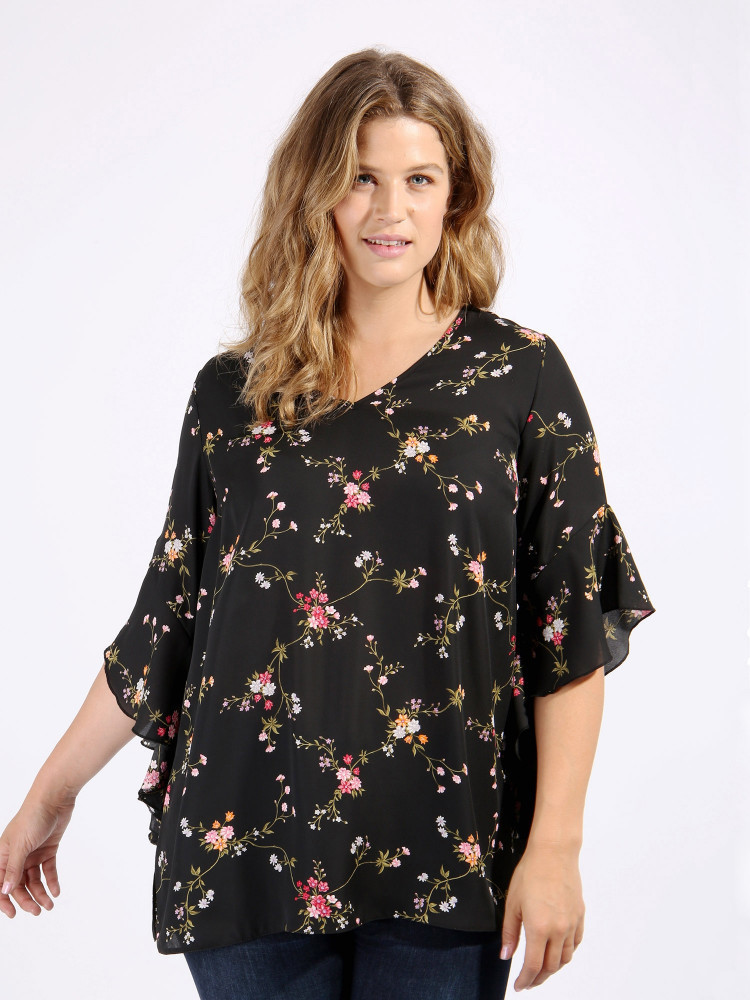 Black floral assymetric flute sleeves blouse