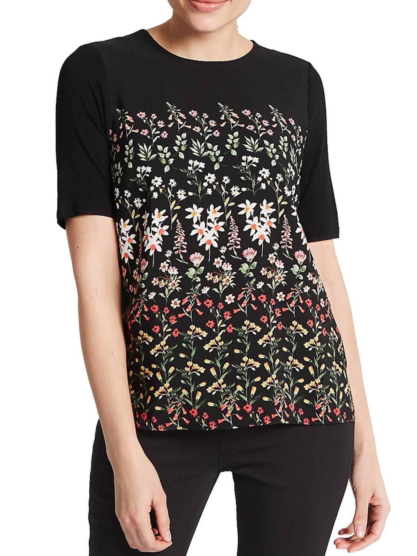 BLACK Floral Print Half Sleeve T-Shirt