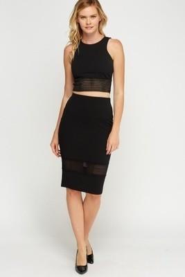 Elasticated Trim Top and Skirt Set