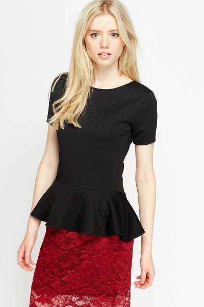 Black Textured Peplum Top