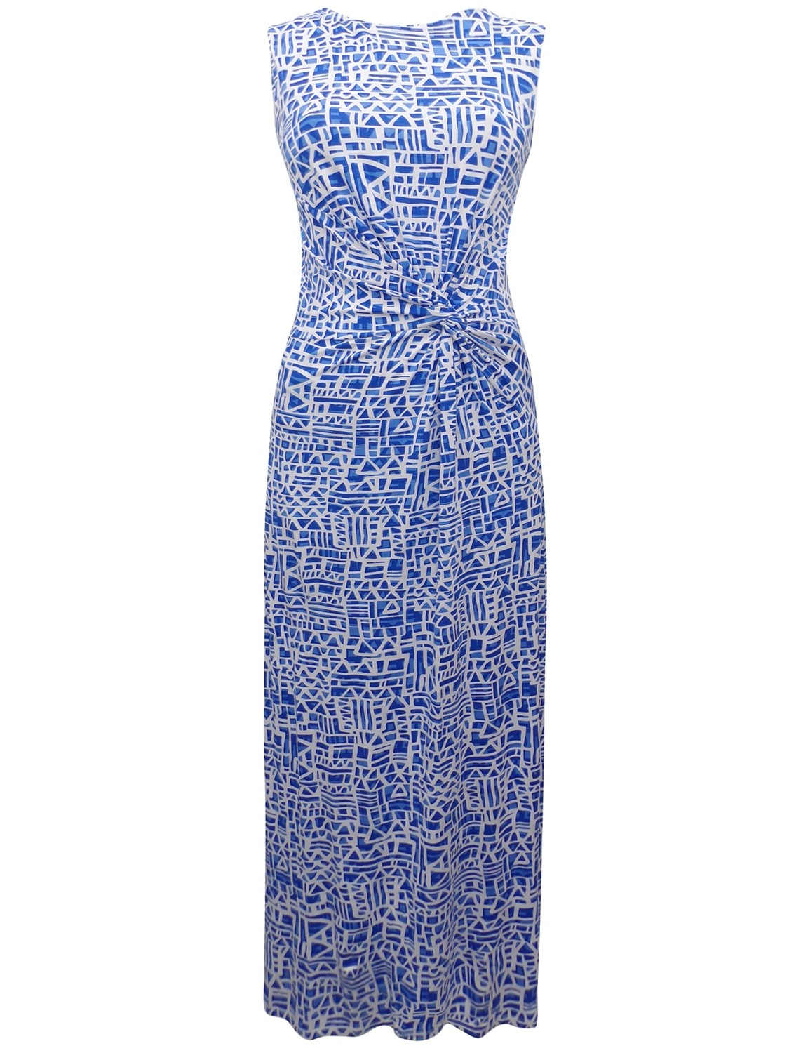 First Avenue BLUE Sleeveless Printed Twist Front Maxi Dress