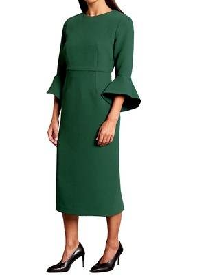 Flared Sleeve Bodycon Midi Dress EMERALD