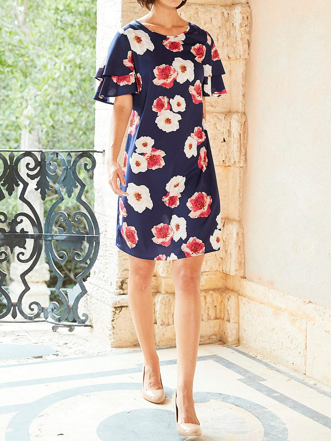 Floral Print Ruffle Sleeve Dress