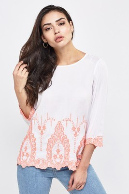 Broderie Detailed Top