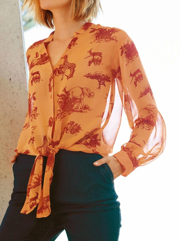 Brown Safari Print Tie Front Shirt