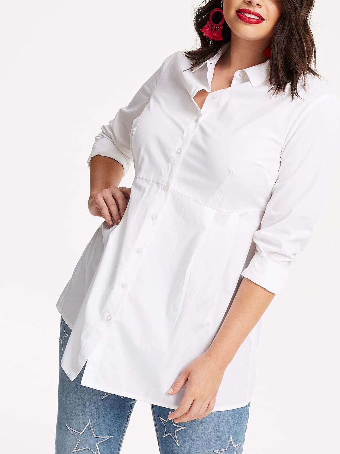 Capsule WHITE Fit and Flare Cotton Shirt