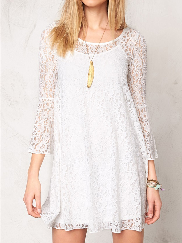 OFF-WHITE Overlaid Lace Flared Sleeve Swing Dress