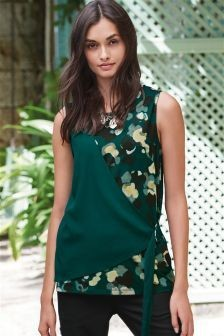 Contrast Sleeveless Tie Side Shell Top Green