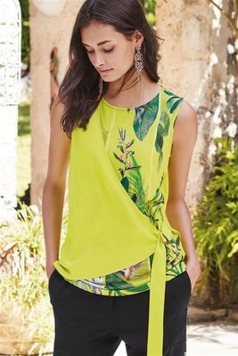 Contrast Sleeveless Tie Side Shell Top Lime
