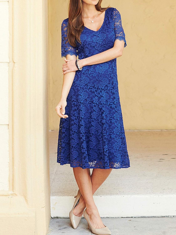 Joanna Hope COBALT Floral Lace Midi Dress