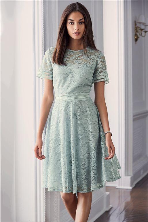 Lace Skater Dress Mint