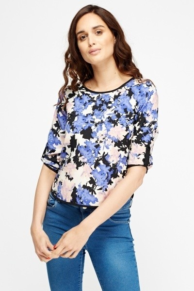 Cut Out Back Floral Print Top
