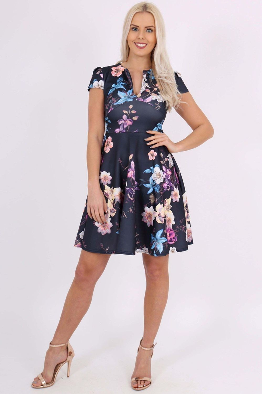 Marigold Navy Floral Keyhole Skater Dress