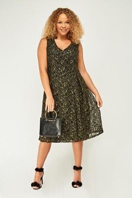 Metallic Lace Overlay Dress