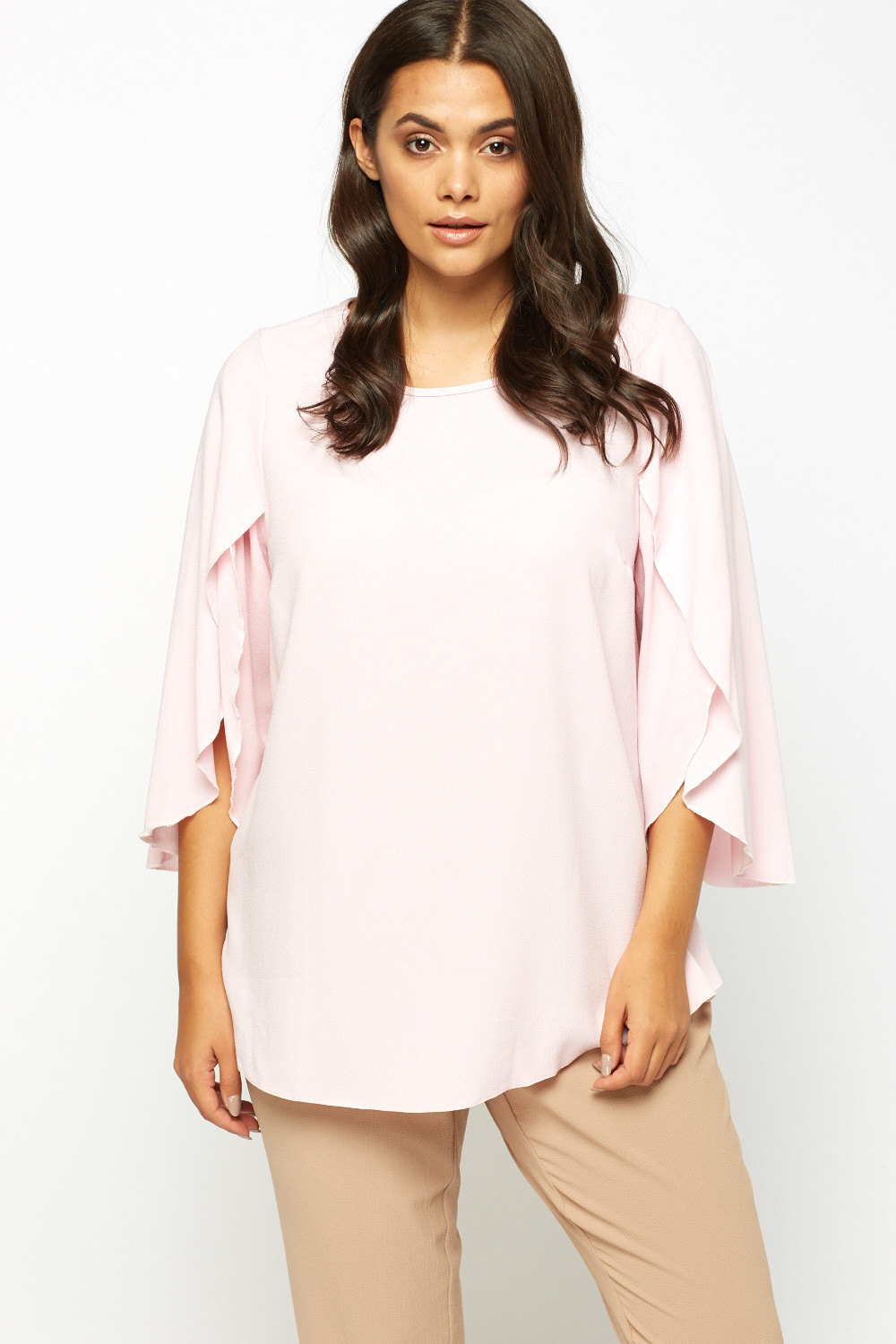 Cut Wrap Sleeve Pink Top