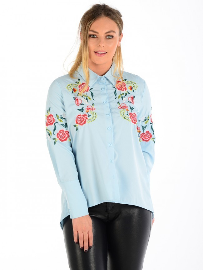 Embroidered Shirt Blue