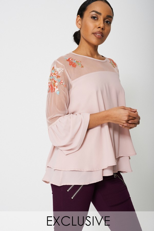 Embroidery And Mesh Blouse Pink