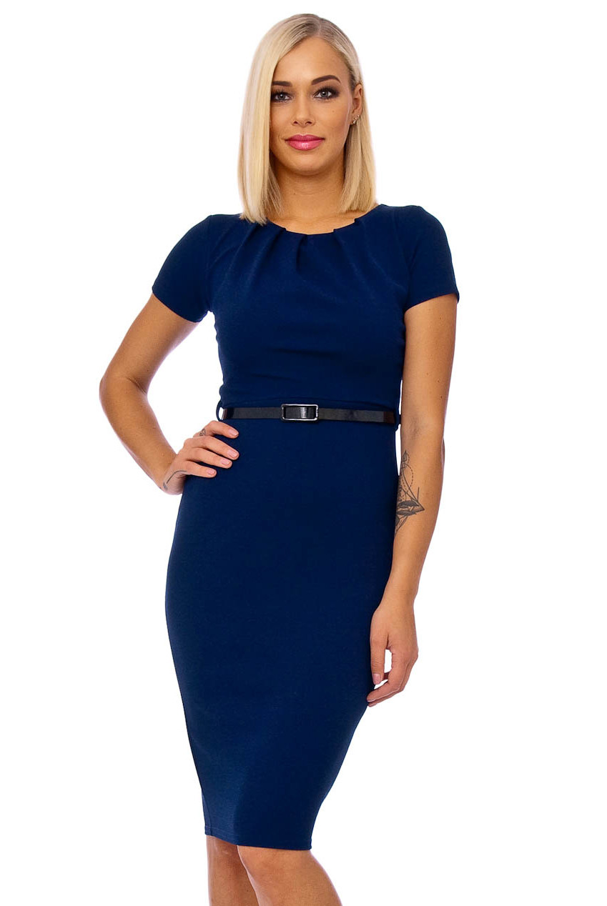 Navy Mayfair Crepe Cap Sleeve Midi Dress
