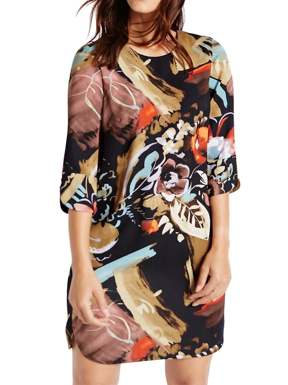 Navy Smudge Print 3/4 Sleeve Tunic Dress