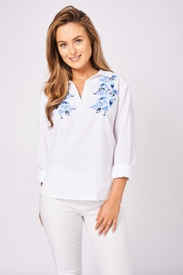 Floral Embroidered Shirt In White