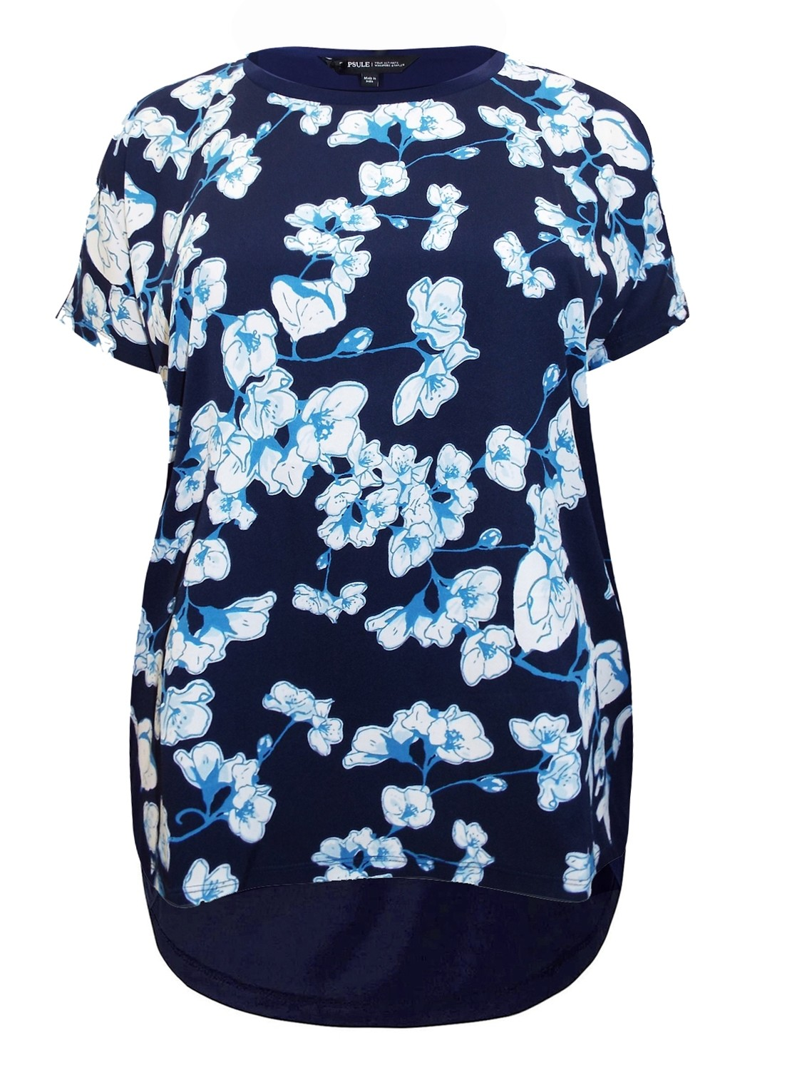 Floral Print Dipped Hem Woven Top