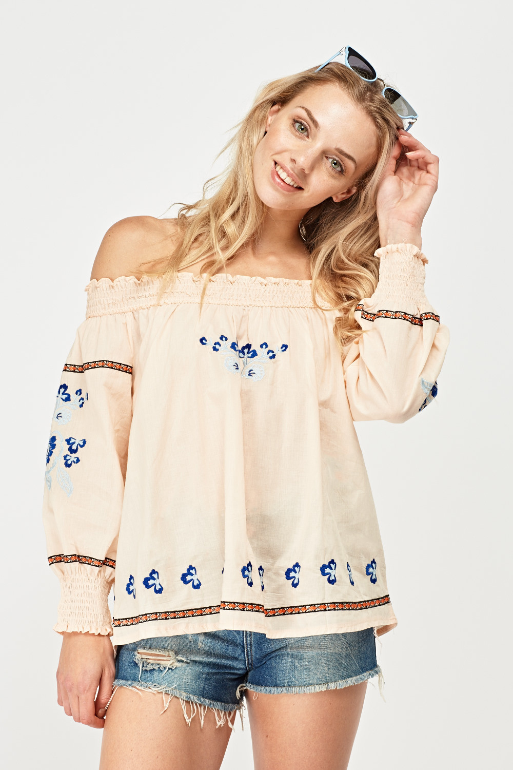 Flower Embroidered Bohemian Top