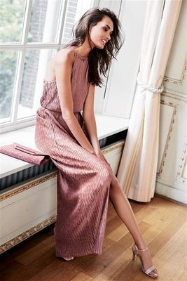 Next Pink Metallic Plissé Maxi Dress