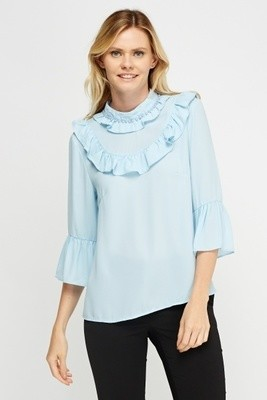 Frilled Collar Blouse Blue